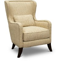 Transitional Linen Wingback Accent Chair - Ava