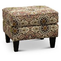 Contemporary Red and Green Ottoman - Loren