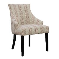 Henna Cream and Red Button Back Accent Chair - Allison