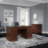 Harvest Cherry 2 Piece Office Desk Set - Birmingham Executive