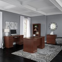 Harvest Cherry 4 Piece Office Desk Set - Birmingham Executive