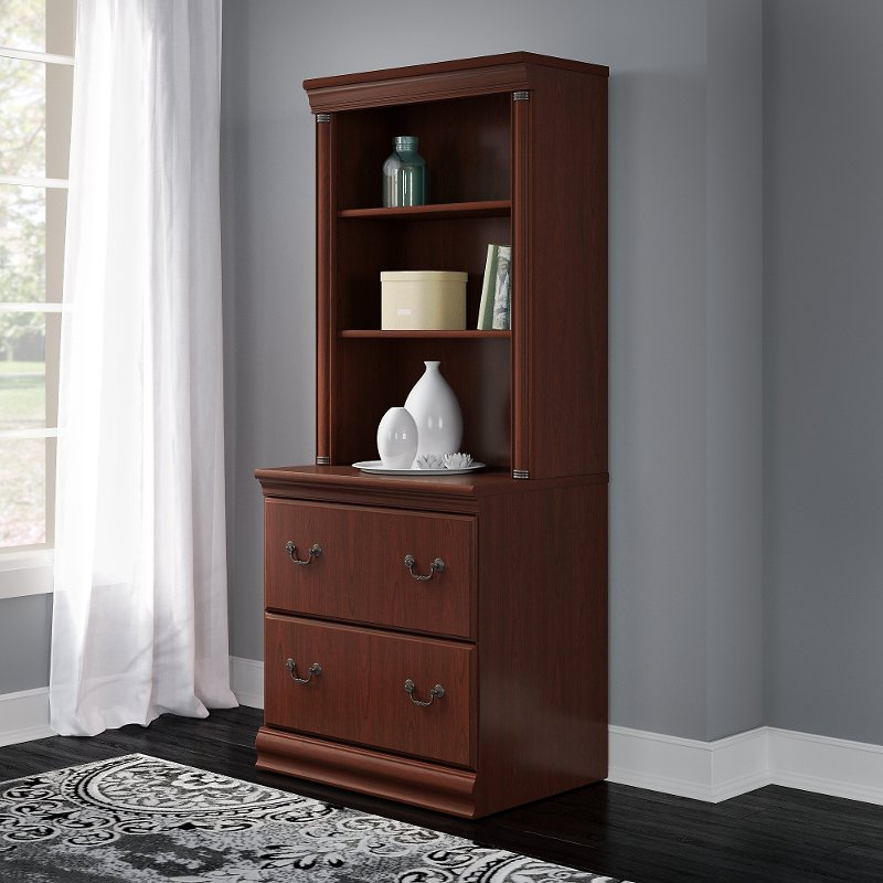 Cherry Brown 2 Drawer Lateral File Cabinet with Hutch - Birmingham.