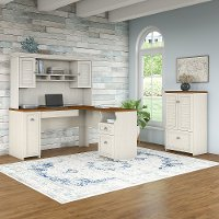 Antique White and Tea Maple 3 Piece Office Desk Set - Fairview