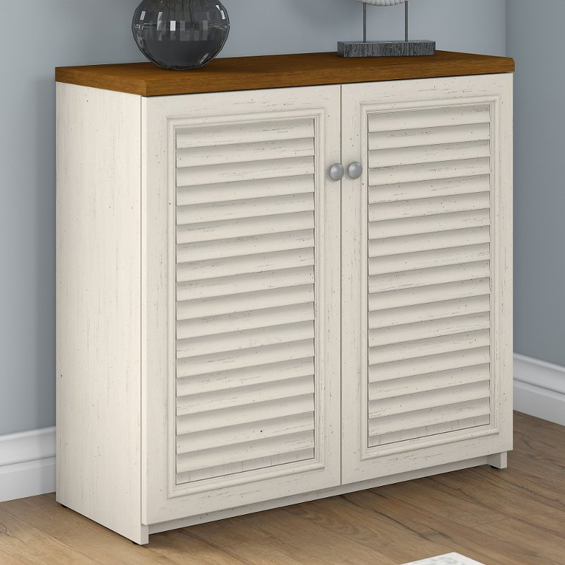 Antique White and Tea Maple Storage Cabinet - Fairview