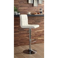White Adjustable Height Swivel Bar Stool - Bellatier