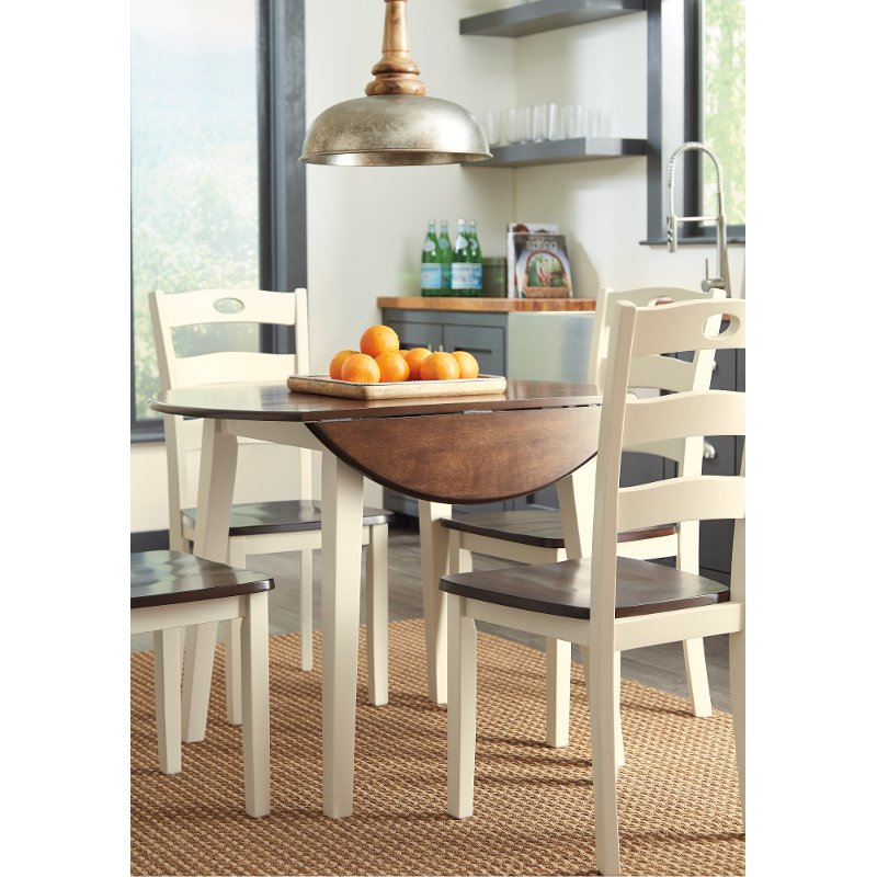 Cream and Brown Drop Leaf Round Dining Table - Woodanville