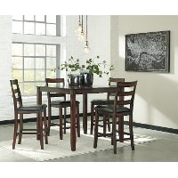 Casual Brown 5 Piece Counter Height Dining Set - Coviar