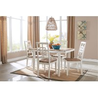 White and Brown 5 Piece Dining Set - Brovada