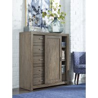 Modern Brownstone Gray Sliding Door Chest - Modern Loft