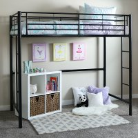 Premium Black Metal Twin Loft Bed - Sunset