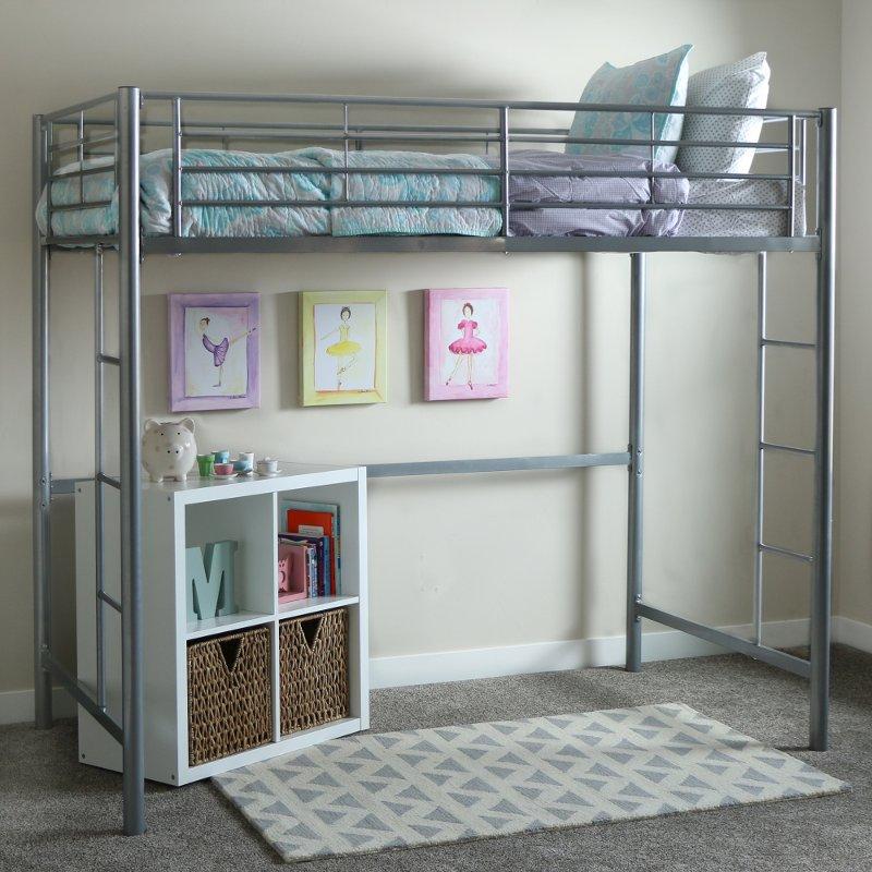 Premium Silver Metal Twin Loft Bed - Sunset