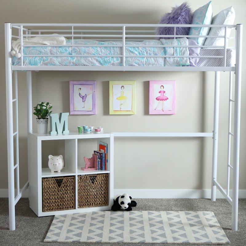 Premium White Metal Twin Loft Bed - Sunset