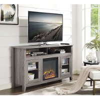 58 Inch Driftwood Brown Highboy Fireplace TV Stand