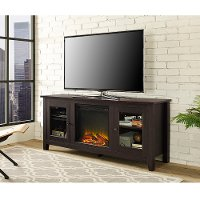 58 Inch Transitional Dark Brown Fireplace TV Stand