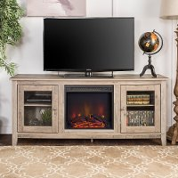 Transitional Gray Wash 58 Inch Fireplace TV Stand