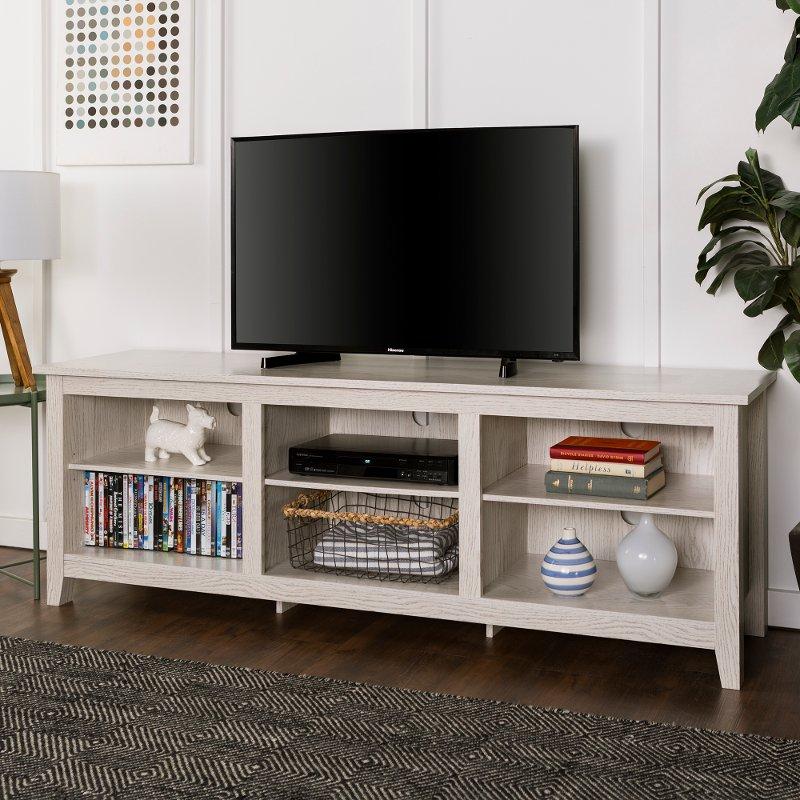 Modern 70 Inch White Wash Tv Stand