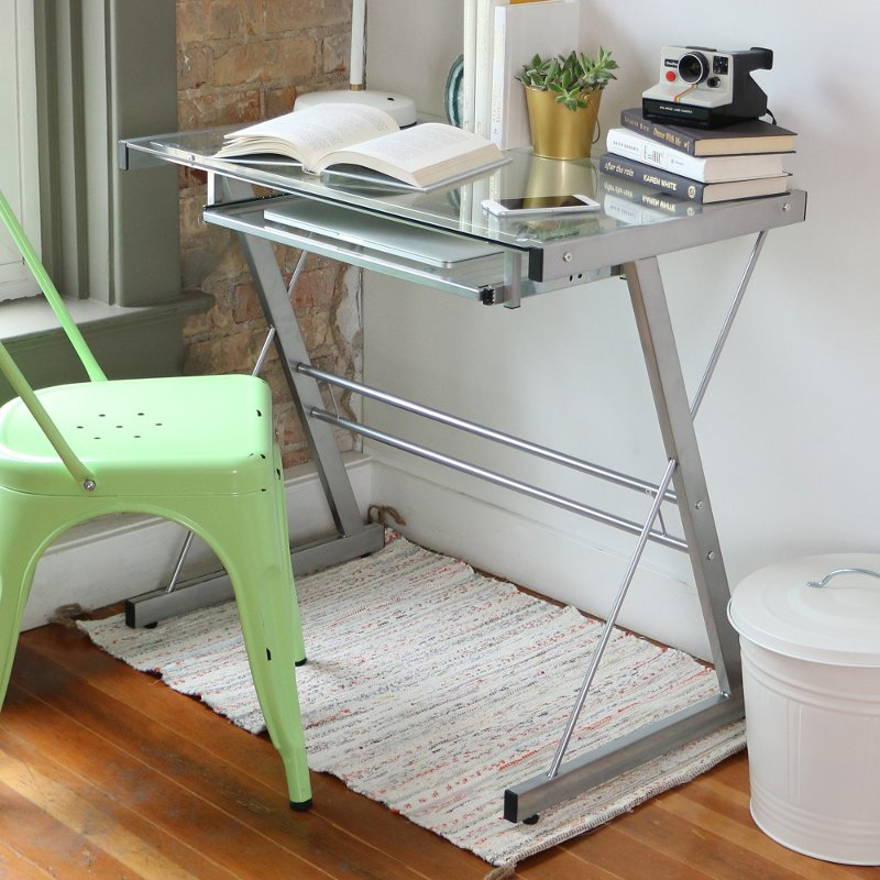 Glass and Metal Small Office Desk