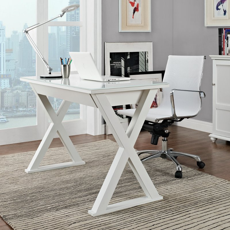 White 48 Inch Metal and Glass Desk