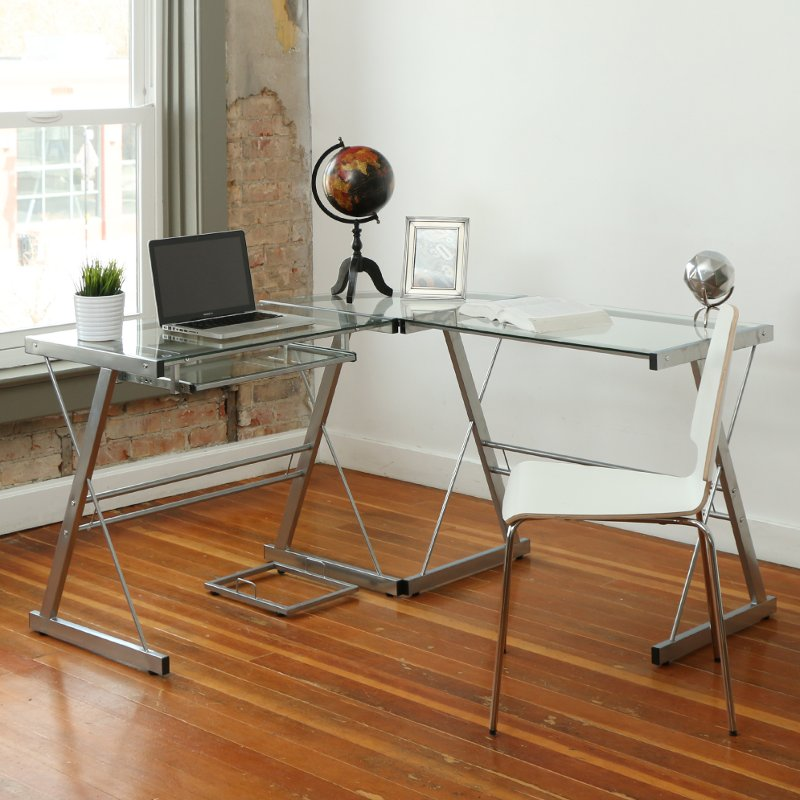 Silver L Shaped Corner Glass Desk
