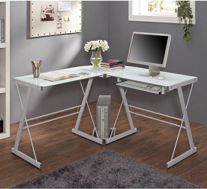 White L Shaped Corner Glass Desk