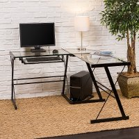 Black L Shaped Corner Glass Desk