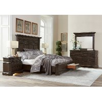 Traditional Brown 4 Piece California King Bedroom Set - Foxhill