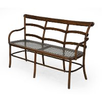 Coffee Brown Three Seater Bench with Metal Mesh Seat - Chevell