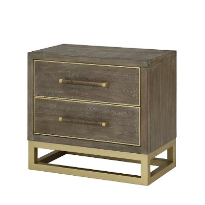 Modern Walnut and Brass Nightstand - Tango