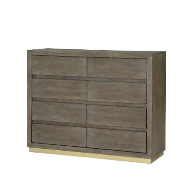Modern Walnut and Brass Dresser - Tango