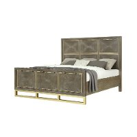 Modern Walnut and Brass Queen Bed - Tango