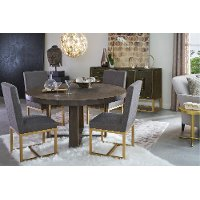 Contemporary Gray and Champagne Round 5 Piece Dining Set - Tango