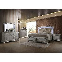 Champagne Platinum 4 Piece King Bedroom Set - Kaitlyn
