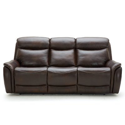 Brown Leather-Match Dual Power Reclining Sofa - Happy Happy