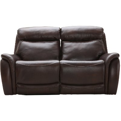 Brown Leather-Match Power Glider Reclining Loveseat - Happy Happy