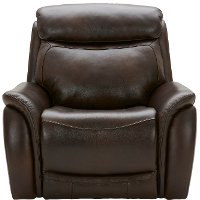 Transitional Brown Leather-Match Power Recliner - Happy Happy