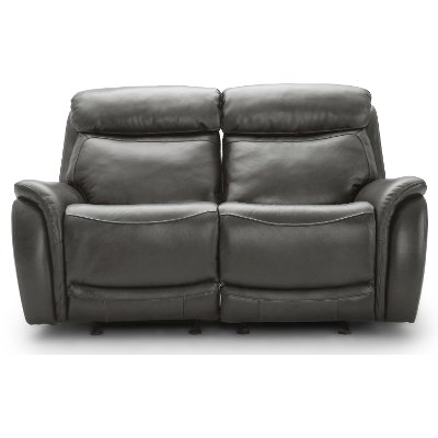 Gray Leather-Match Power Glider Reclining Loveseat - Happy Happy