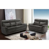 Gray Leather-Match Power Reclining Living Room Set - Happy Happy