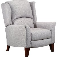 Linen Push Back High Leg Recliner - Lorna
