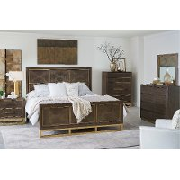 Modern Walnut and Brass 4 Piece Queen Bedroom Set - Tango