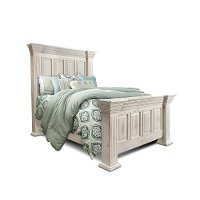 Rustic White Queen Bed - Marquis