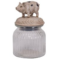 Glass Jar with Polystone Pig on Lid