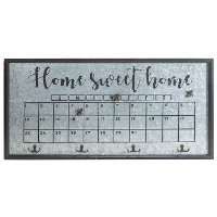 Home Sweet Home Wood and Metal Calendar with Hooks