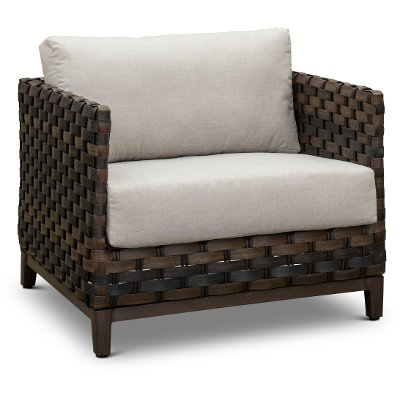 Patio Wicker Lounge Chair with Sunbrella Cushion - Nevis