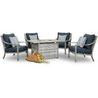 Driftwood Gray 5 Piece Patio Fire Pit Set - Rockport