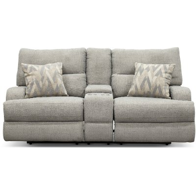 Archie Shark Gray Power Reclining Loveseat - Brindle