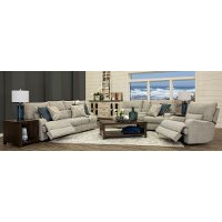 KIT Archie Shark Gray Power Reclining Living Room Set - Brindle