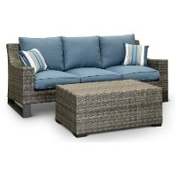 17CT262AW-3D/SO/CKTB Wicker Woven Sofa and Cocktail Table - Southport