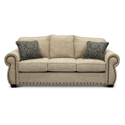 Casual Traditional Canvas Tan Sofa - Southport