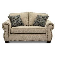 Casual Traditional Canvas Tan Loveseat - Southport