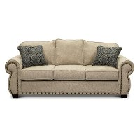 Casual Traditional Canvas Tan Queen Sofa Bed - Southport